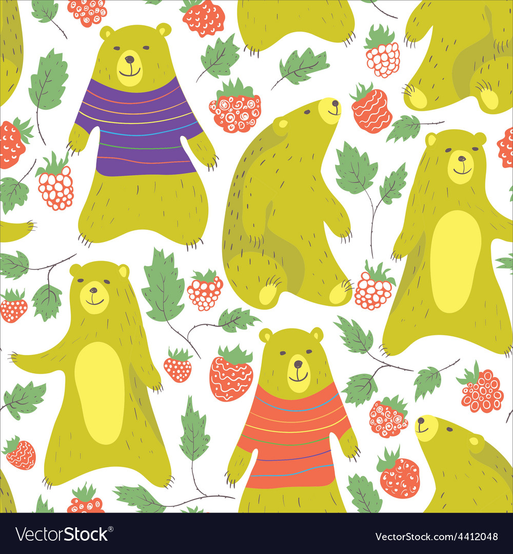 Bear and raspberry vector | Price: 1 Credit (USD $1)