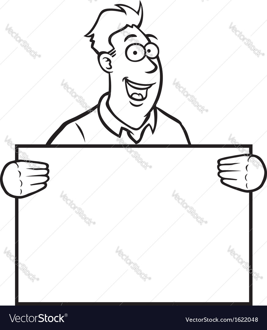 Black and white man holding a sign vector | Price: 1 Credit (USD $1)