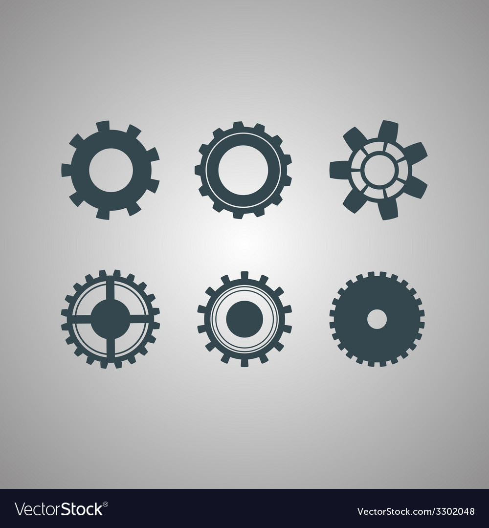 Black gears icons set vector | Price: 1 Credit (USD $1)