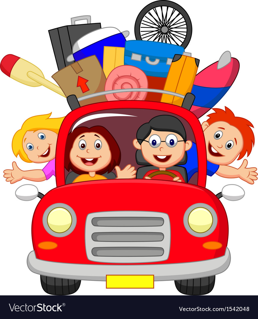 Cartoon family traveling with car vector | Price: 1 Credit (USD $1)