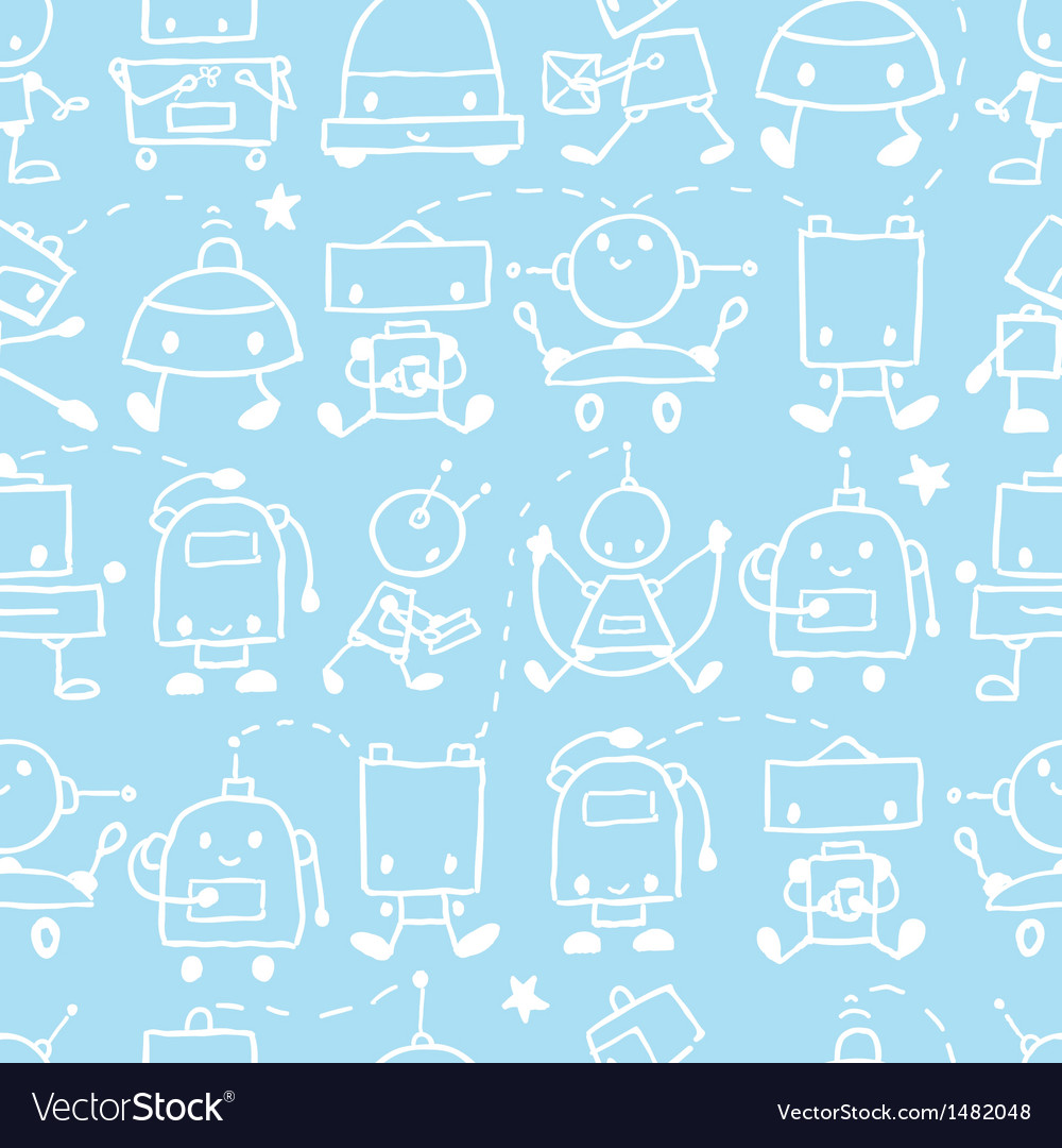 Doodle robots fun seamless pattern background vector | Price: 1 Credit (USD $1)