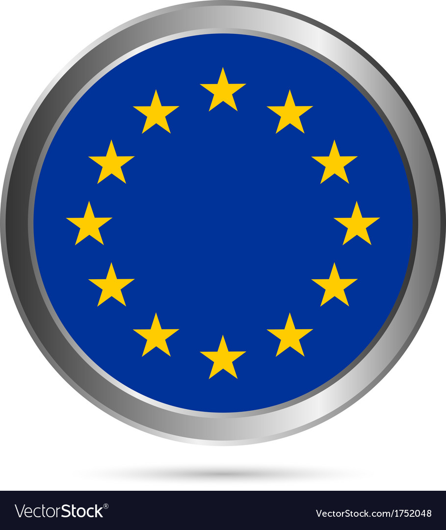 The european union flag button vector | Price: 1 Credit (USD $1)