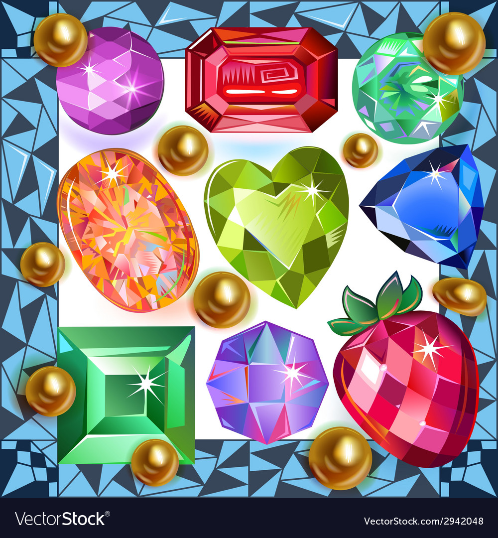 Framed picture precious stones vector | Price: 1 Credit (USD $1)