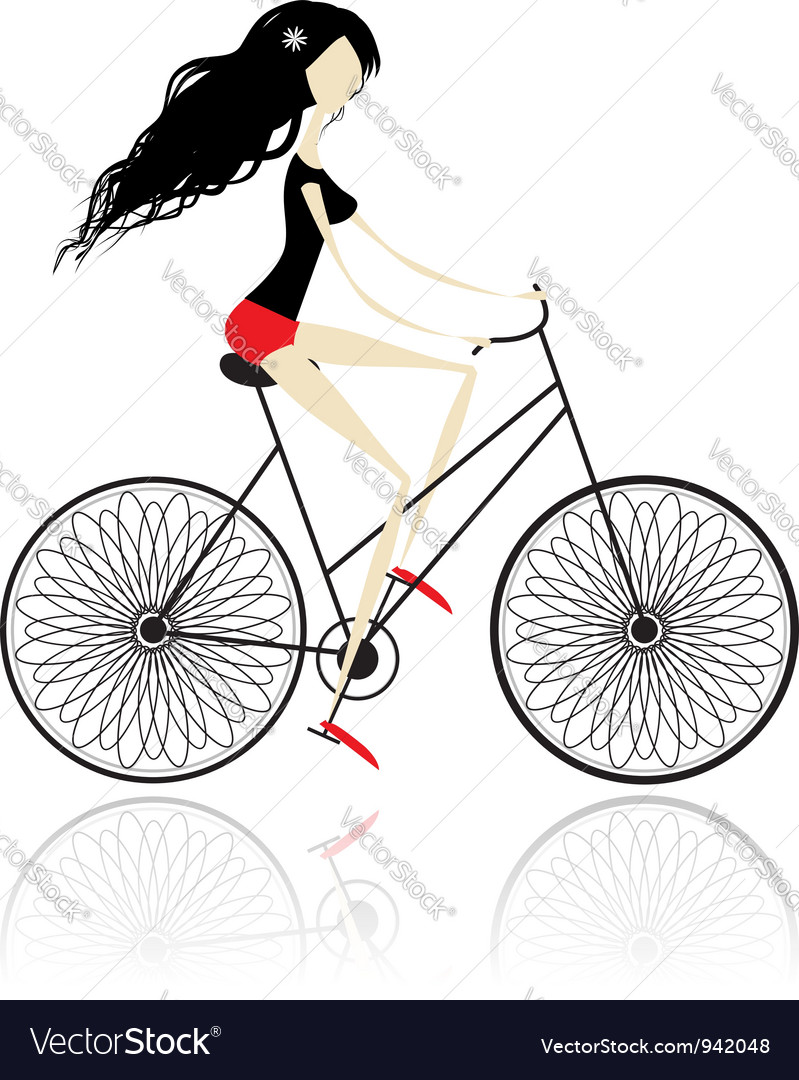 Girl cycling vector | Price: 1 Credit (USD $1)