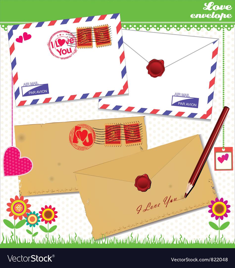 Love envelope - valentine scrapbook elements vector | Price: 1 Credit (USD $1)