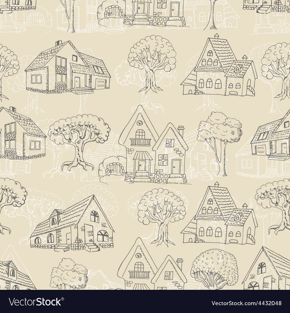 Seamless pattern with many houses and trees vector   Price: 1 Credit (USD $1)