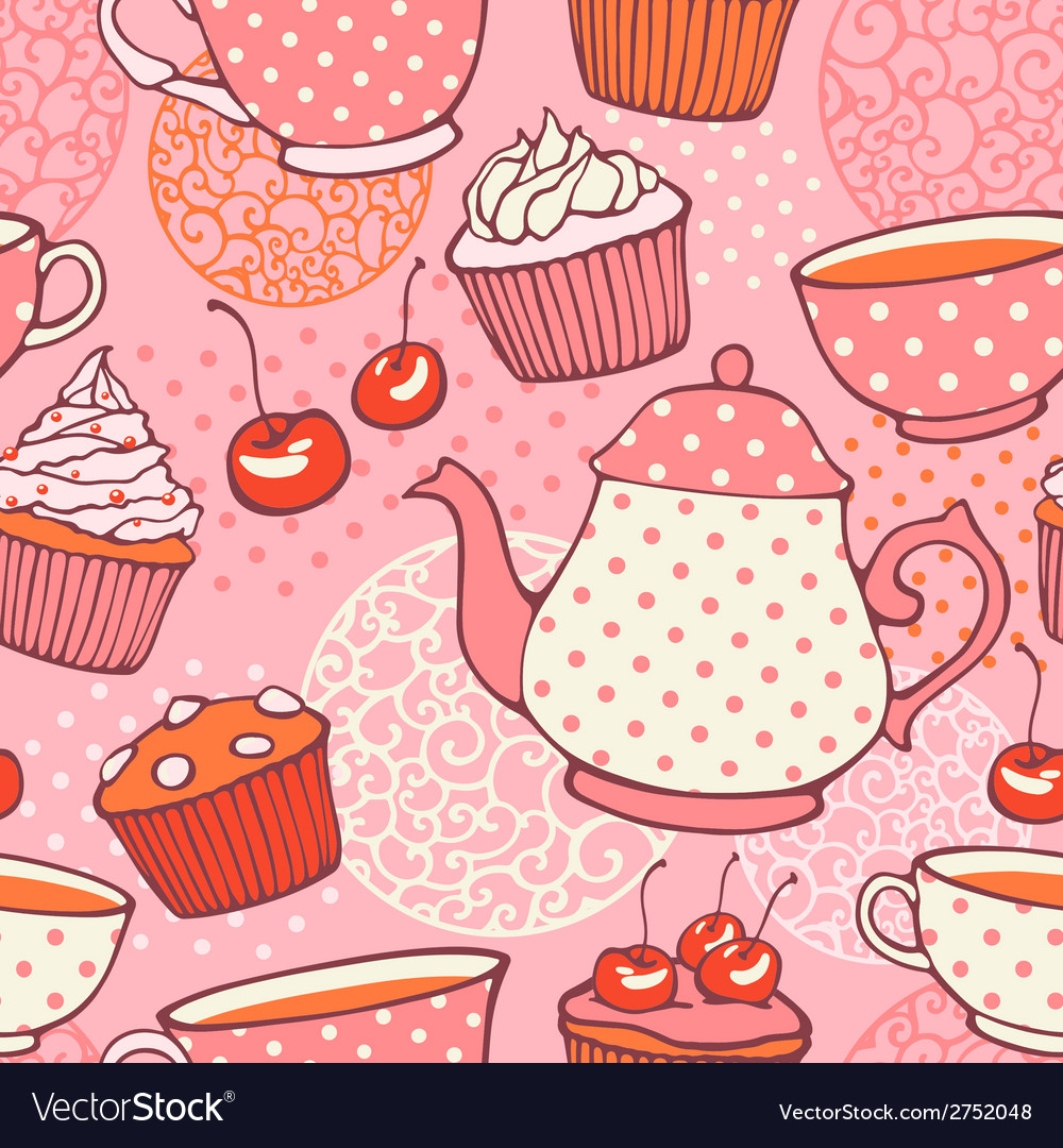 Tea time hand drawn seamless pattern decorative vector | Price: 1 Credit (USD $1)