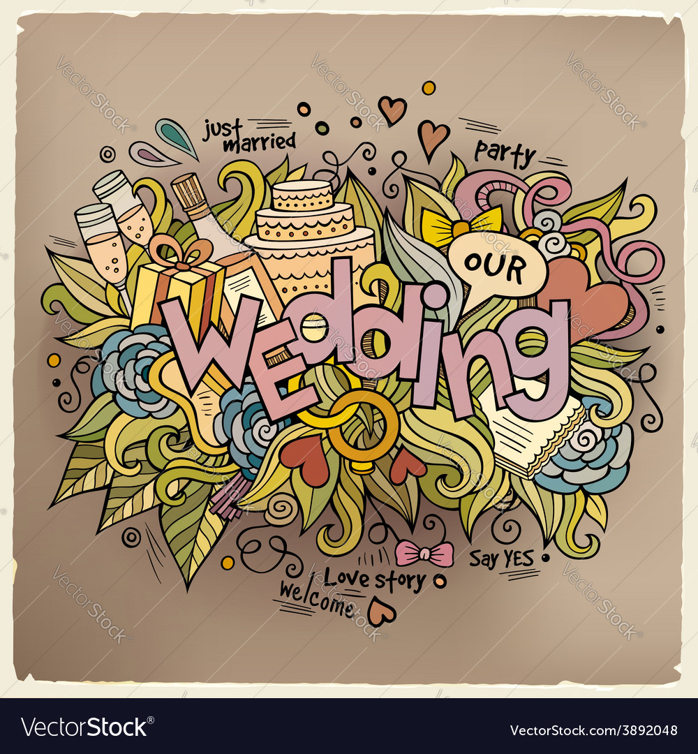 Wedding hand lettering and doodles elements vector   Price: 1 Credit (USD $1)