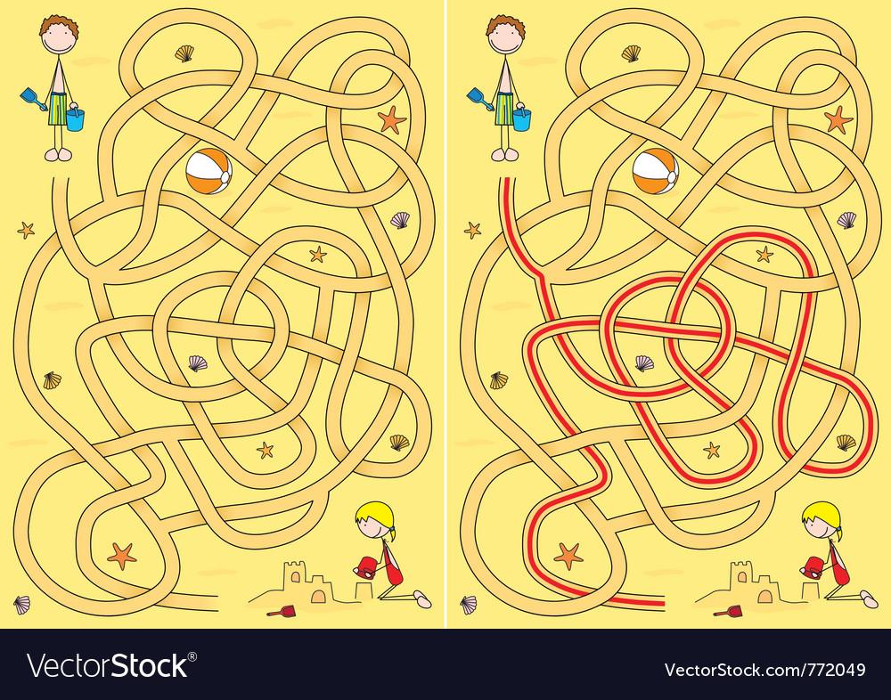 Beach maze for kids vector   Price: 1 Credit (USD $1)