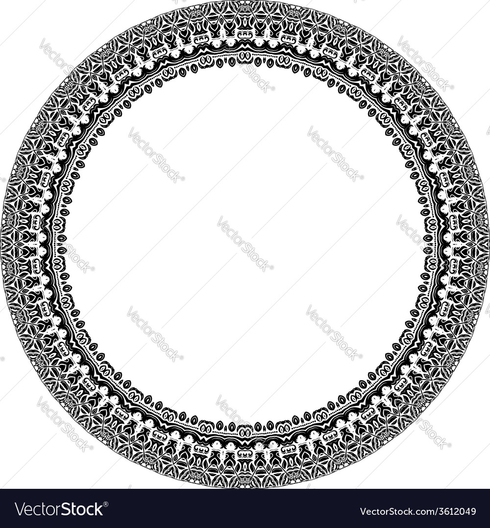 Damask pattern round ornament vector | Price: 1 Credit (USD $1)