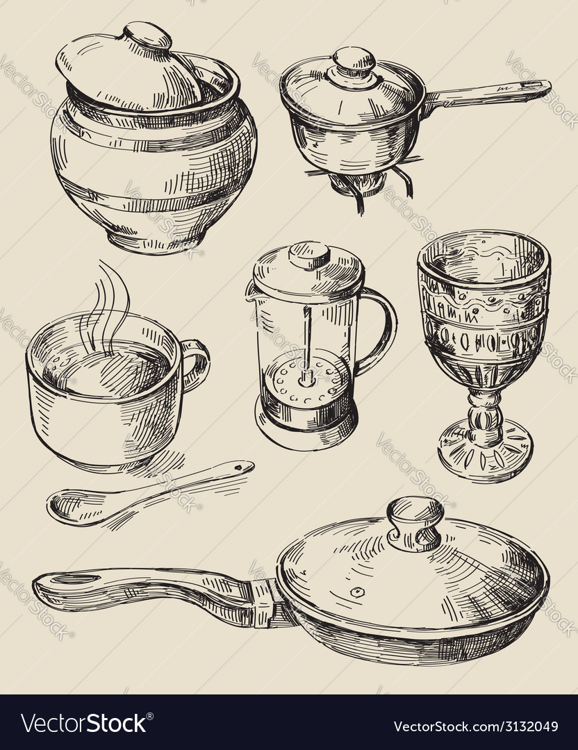 Hand drawn kitchen set vector | Price: 1 Credit (USD $1)