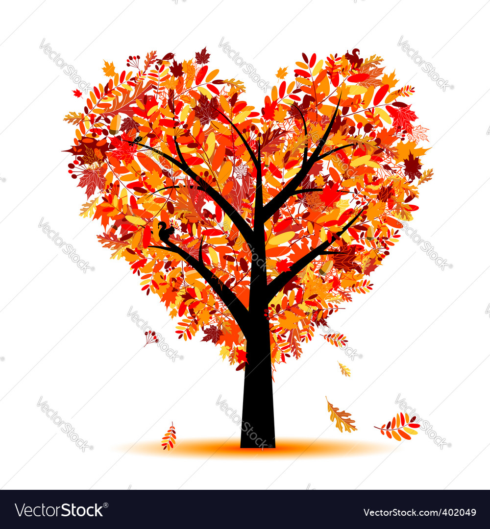 Heart shape tree vector
