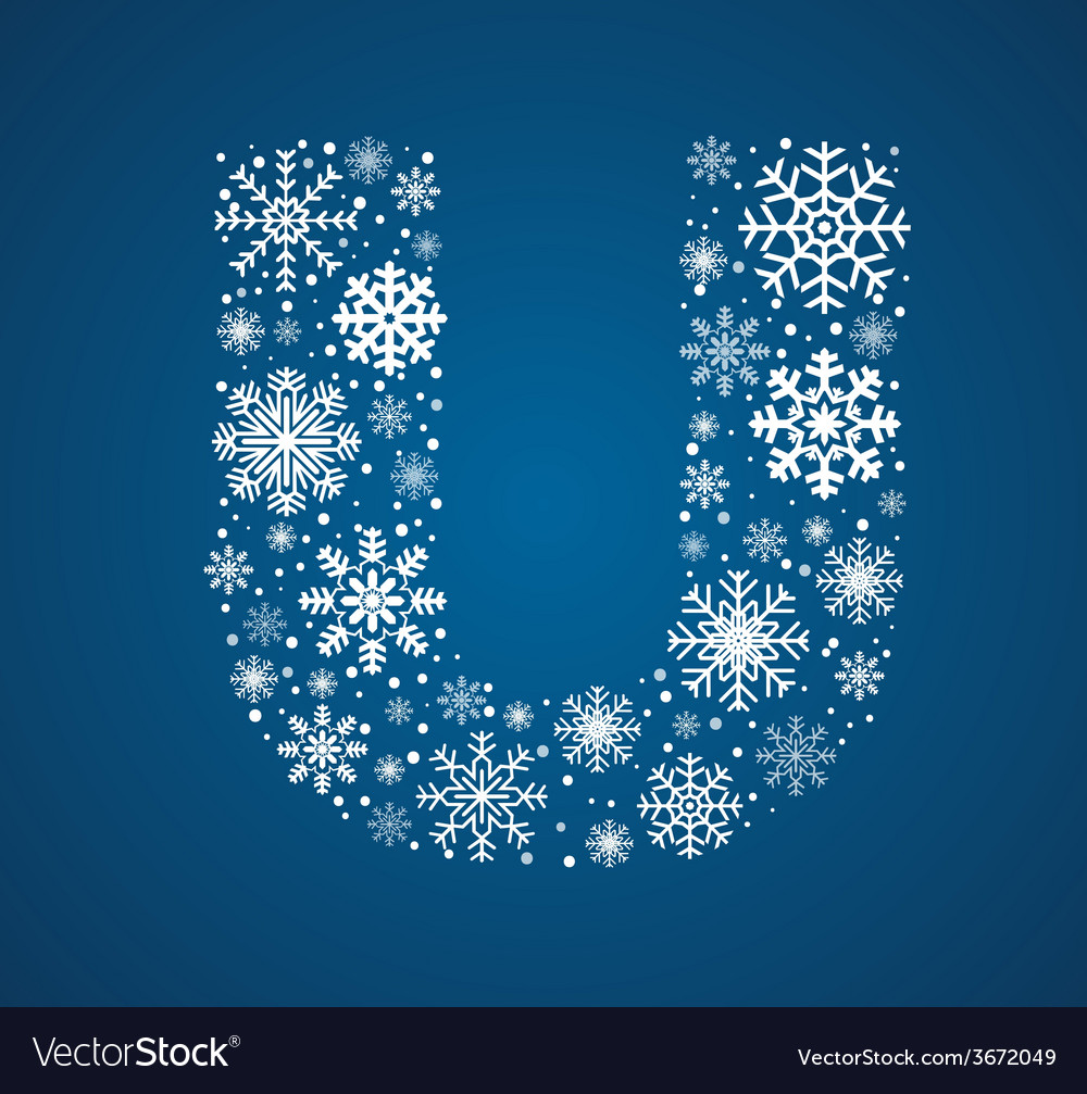 Letter u font frosty snowflakes vector | Price: 1 Credit (USD $1)