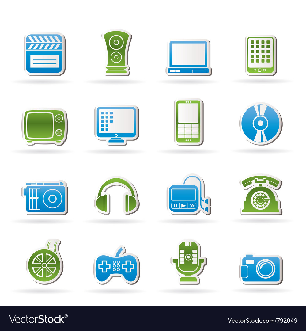 Multimedia and technology icons vector | Price: 1 Credit (USD $1)