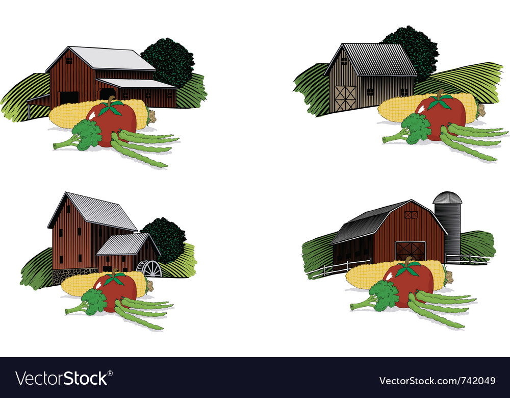 Old barn scenes with vegetables vector | Price: 1 Credit (USD $1)