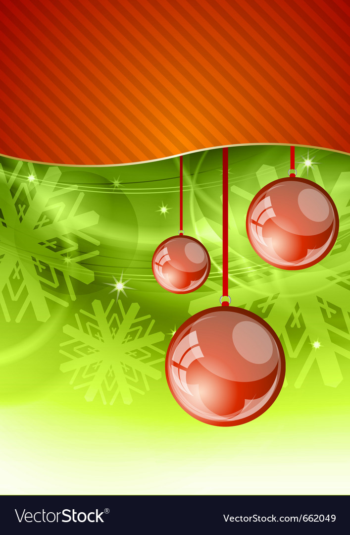 Red christmas ball on the green background vector | Price: 1 Credit (USD $1)