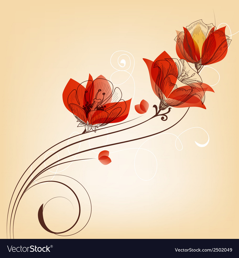 Romantic red flowers decoration in retro style vector | Price: 1 Credit (USD $1)