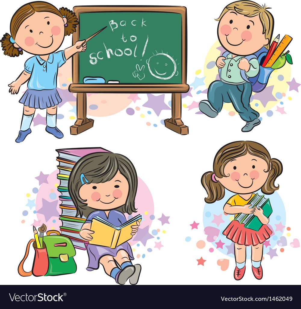 Schoolchildren vector | Price: 3 Credit (USD $3)