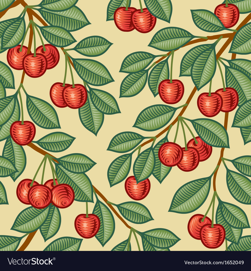 Seamless cherry background vector | Price: 1 Credit (USD $1)