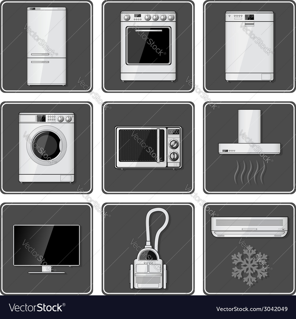 Set of realistic household appliances vector | Price: 1 Credit (USD $1)