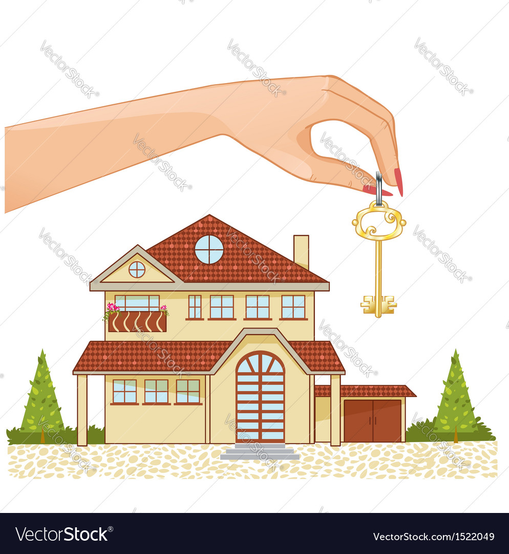 Woman hand with house key and cottage vector | Price: 3 Credit (USD $3)