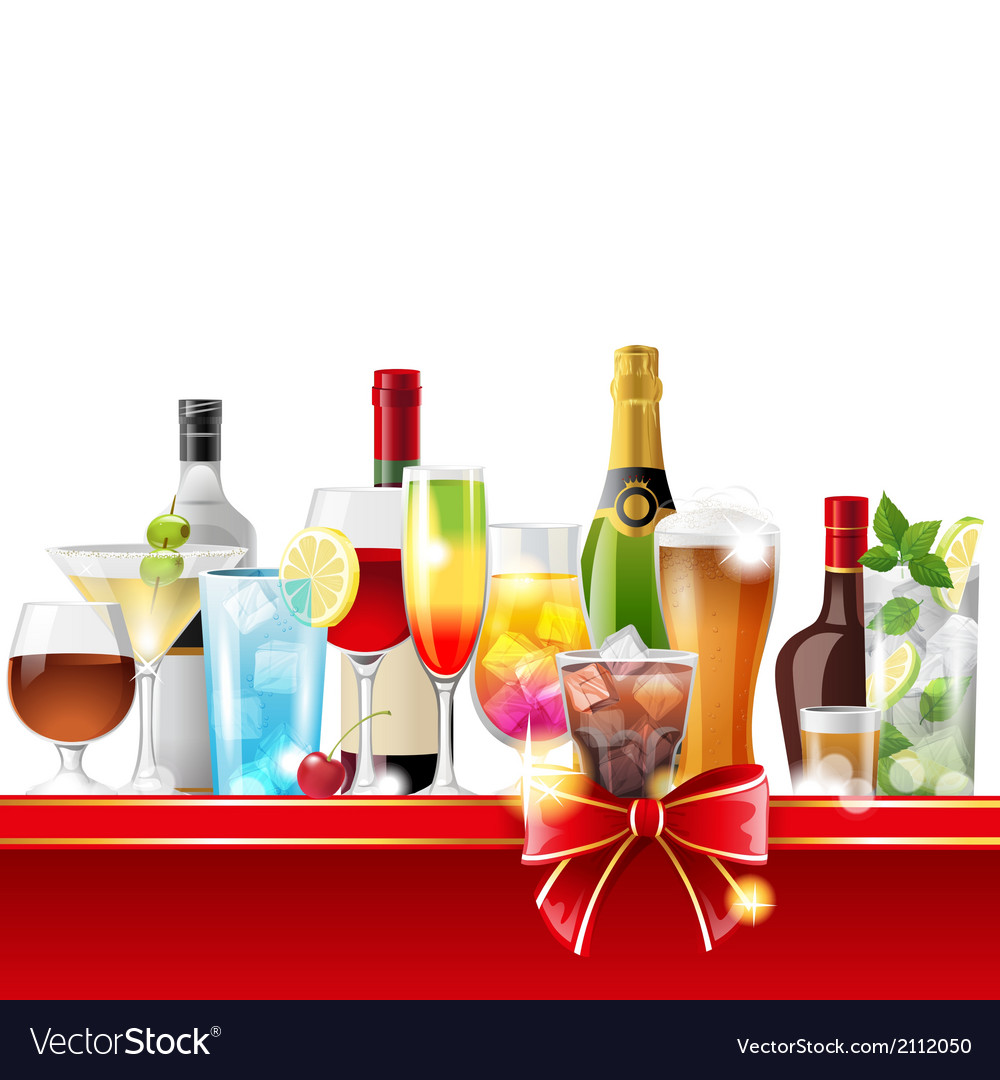 Alcohol cocktails and bottles vector | Price: 3 Credit (USD $3)