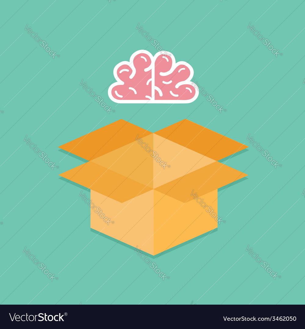 Big pink brain and opened cardboard package box vector | Price: 1 Credit (USD $1)