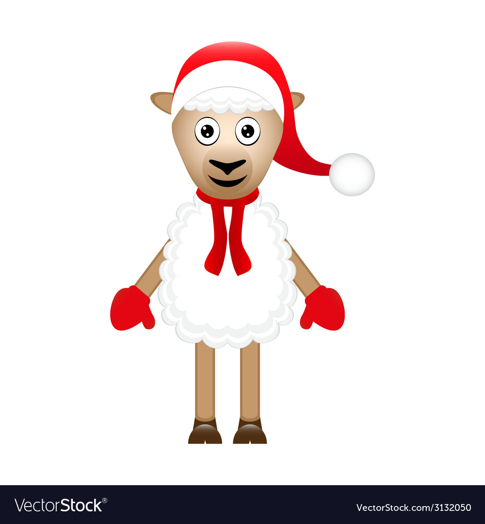 Christmas sheep on white background vector | Price: 1 Credit (USD $1)