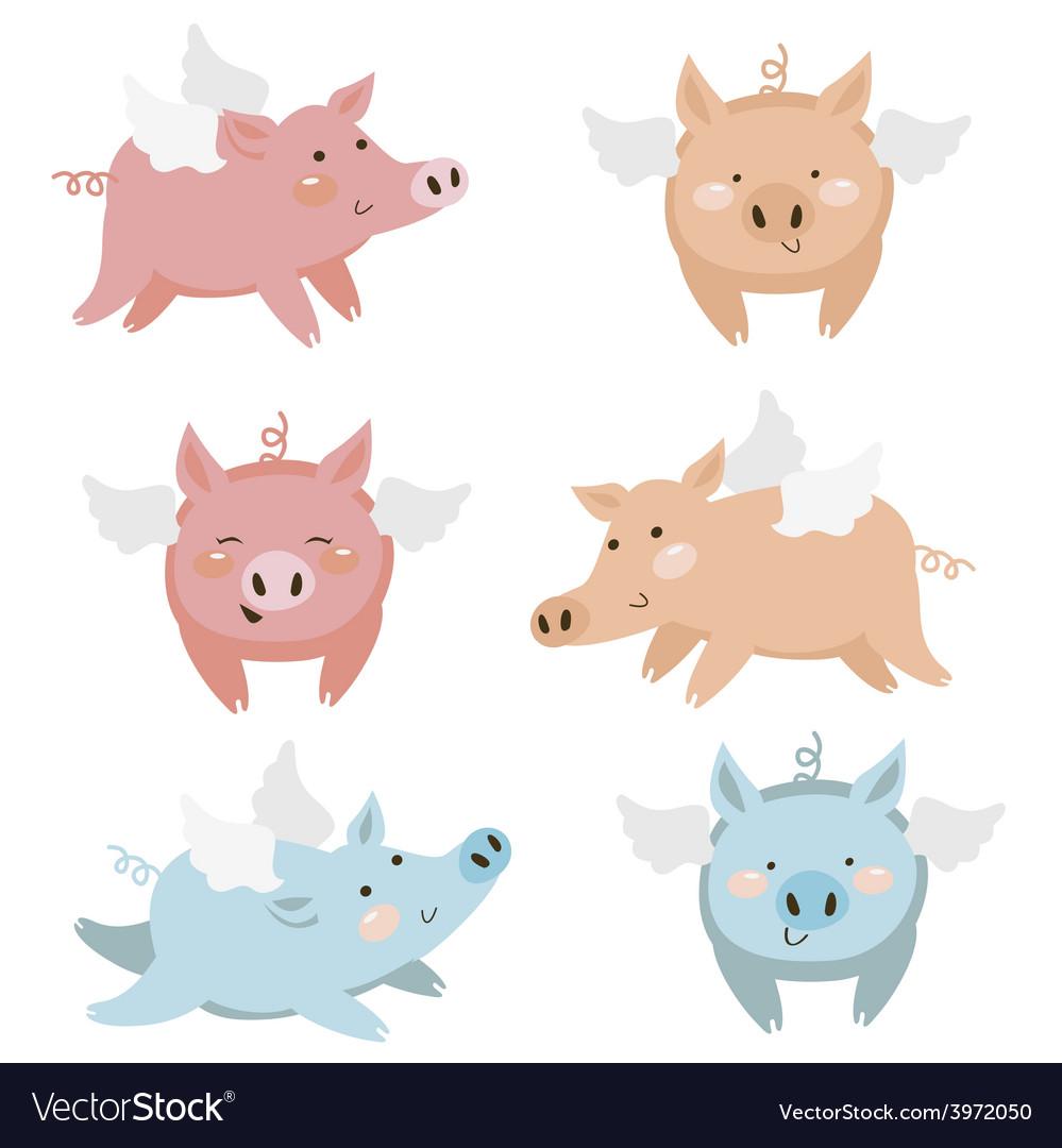 Cute pigs vector
