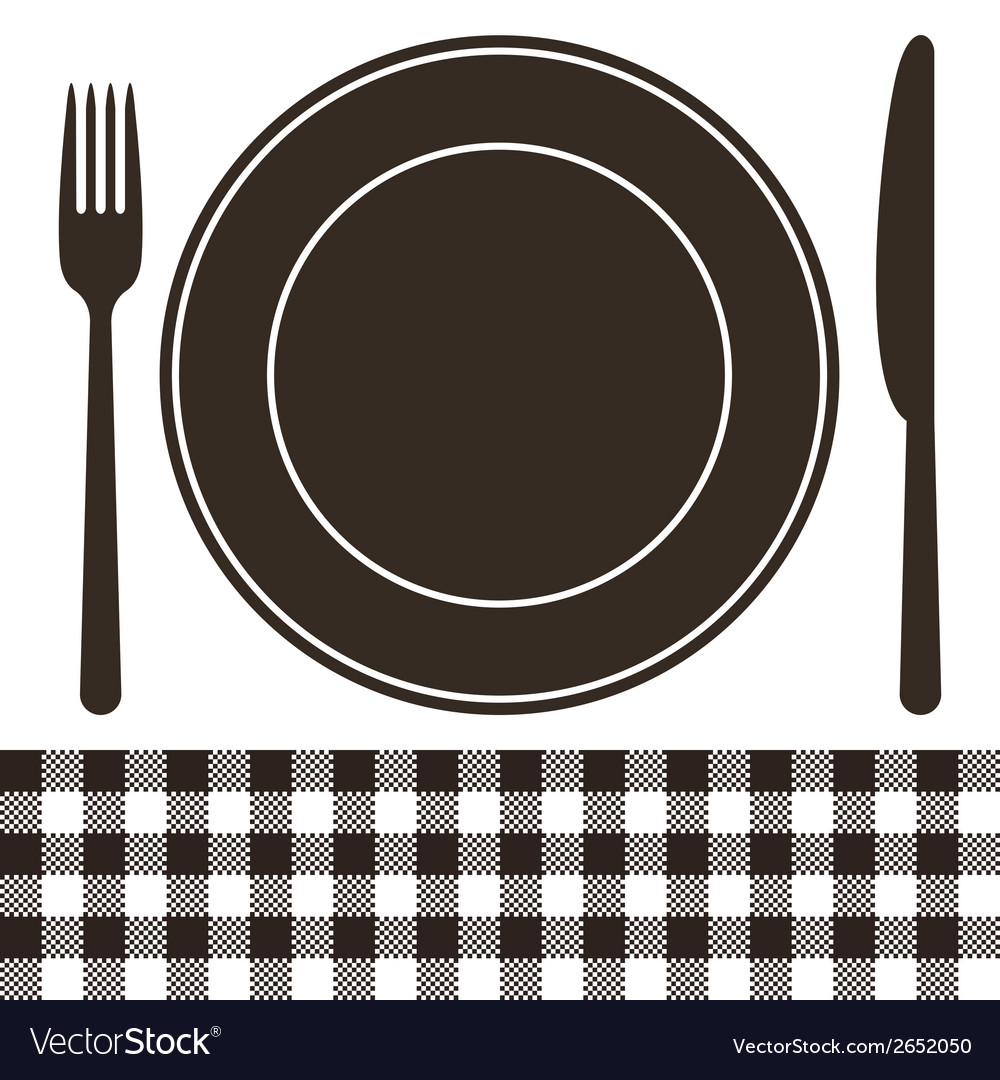 Cutlery plate and tablecloth pattern vector | Price: 1 Credit (USD $1)