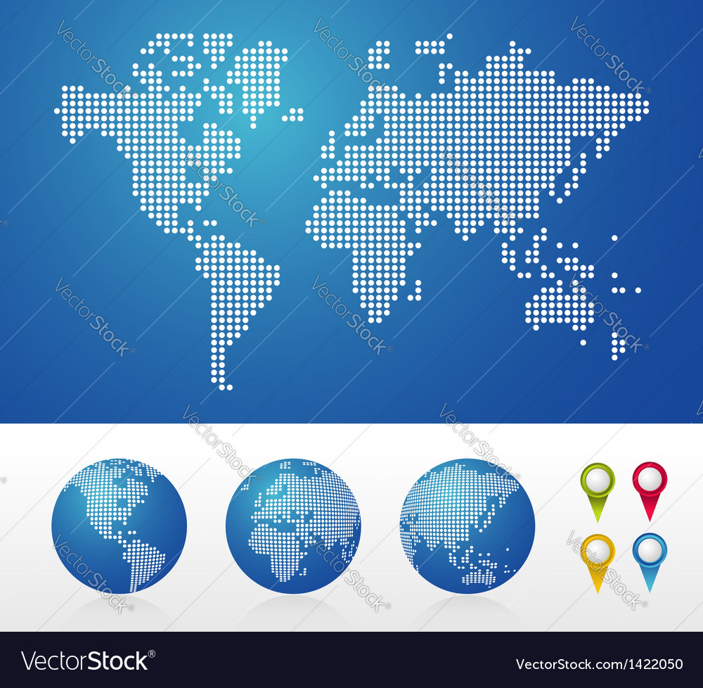 Dotted world maps and globes vector | Price: 1 Credit (USD $1)