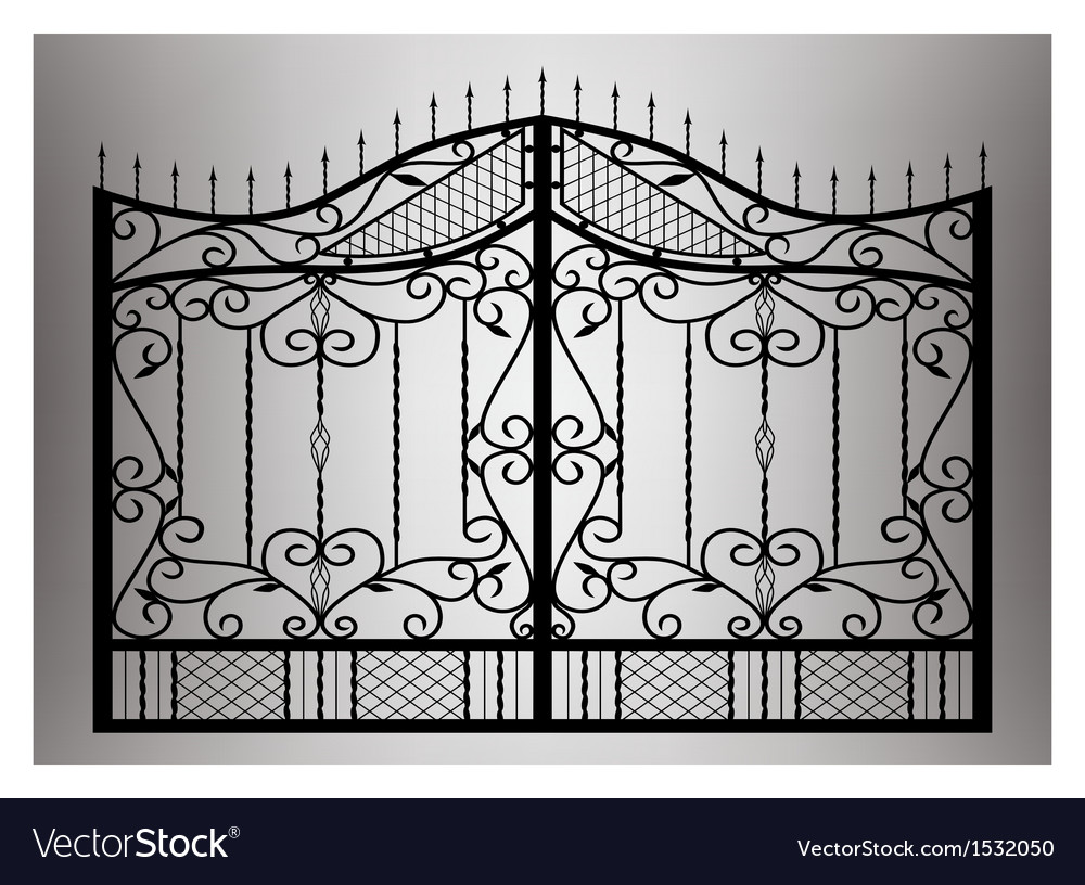 Forged gate with sharp spikes vector | Price: 1 Credit (USD $1)