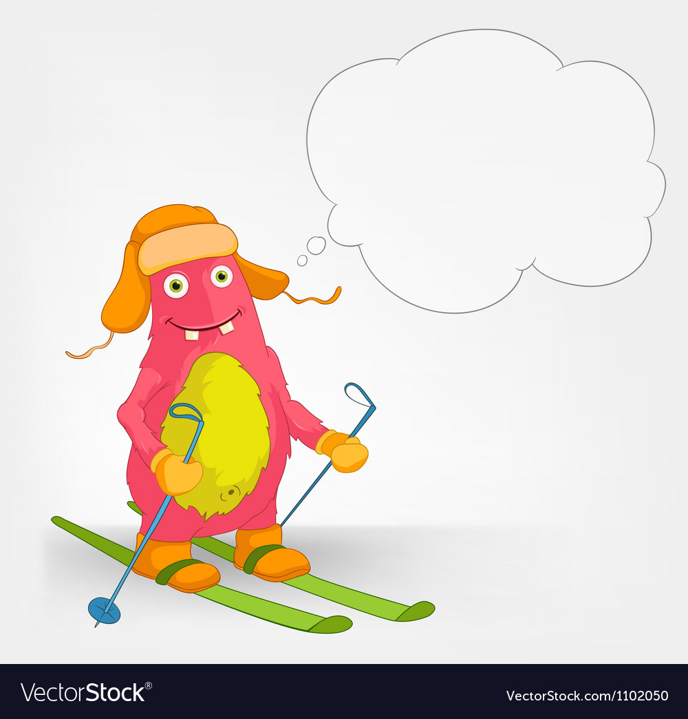 Funny monster skiing vector   Price: 3 Credit (USD $3)