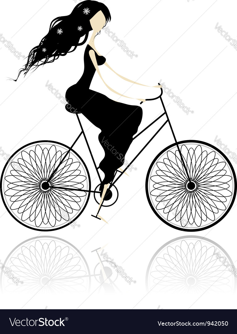 Girl in black dress cycling vector | Price: 1 Credit (USD $1)