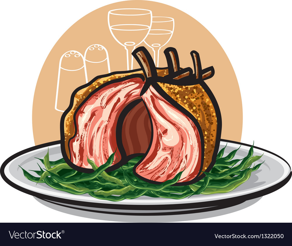 Grilled lamb ribs vector | Price: 3 Credit (USD $3)