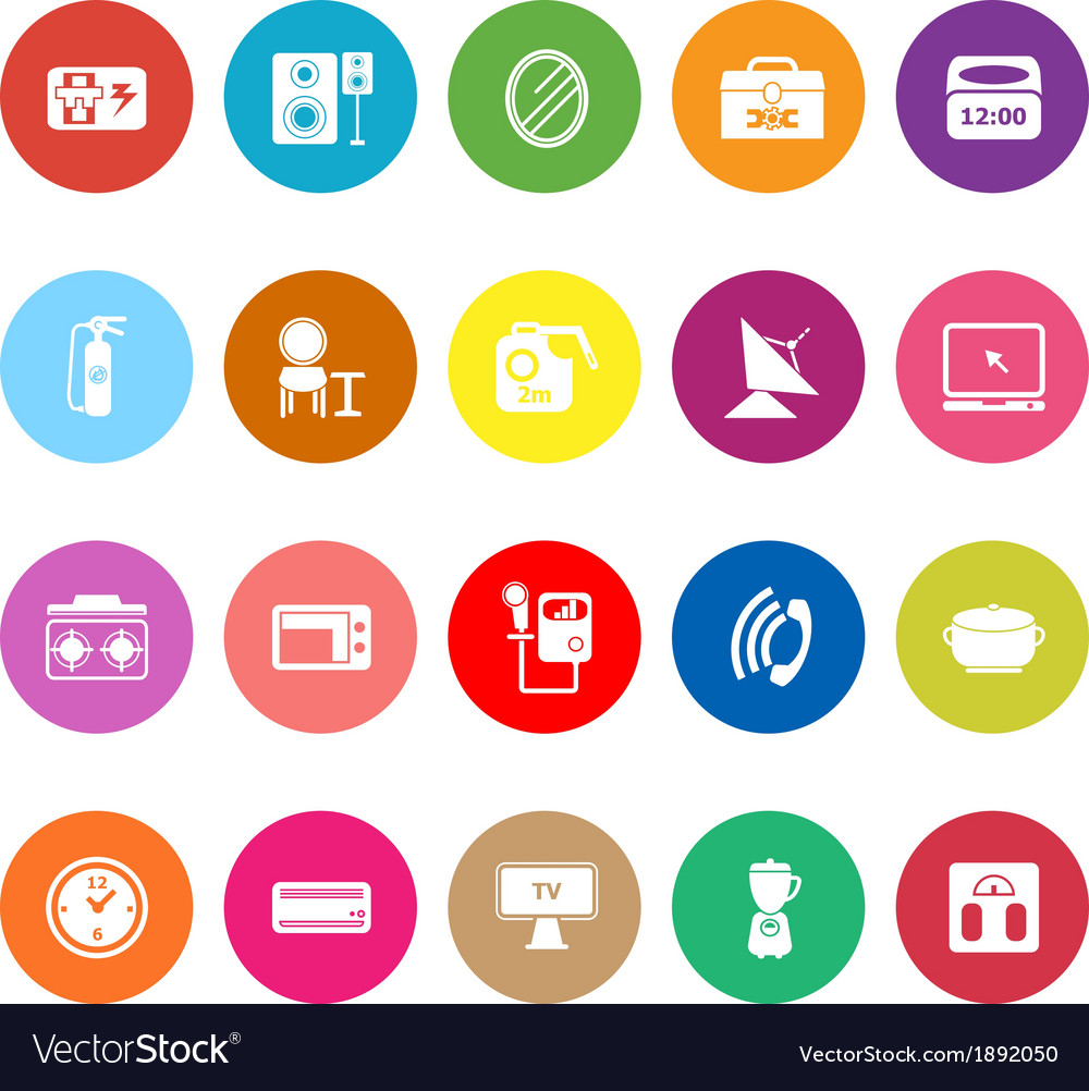House related flat icons on white background vector | Price: 1 Credit (USD $1)