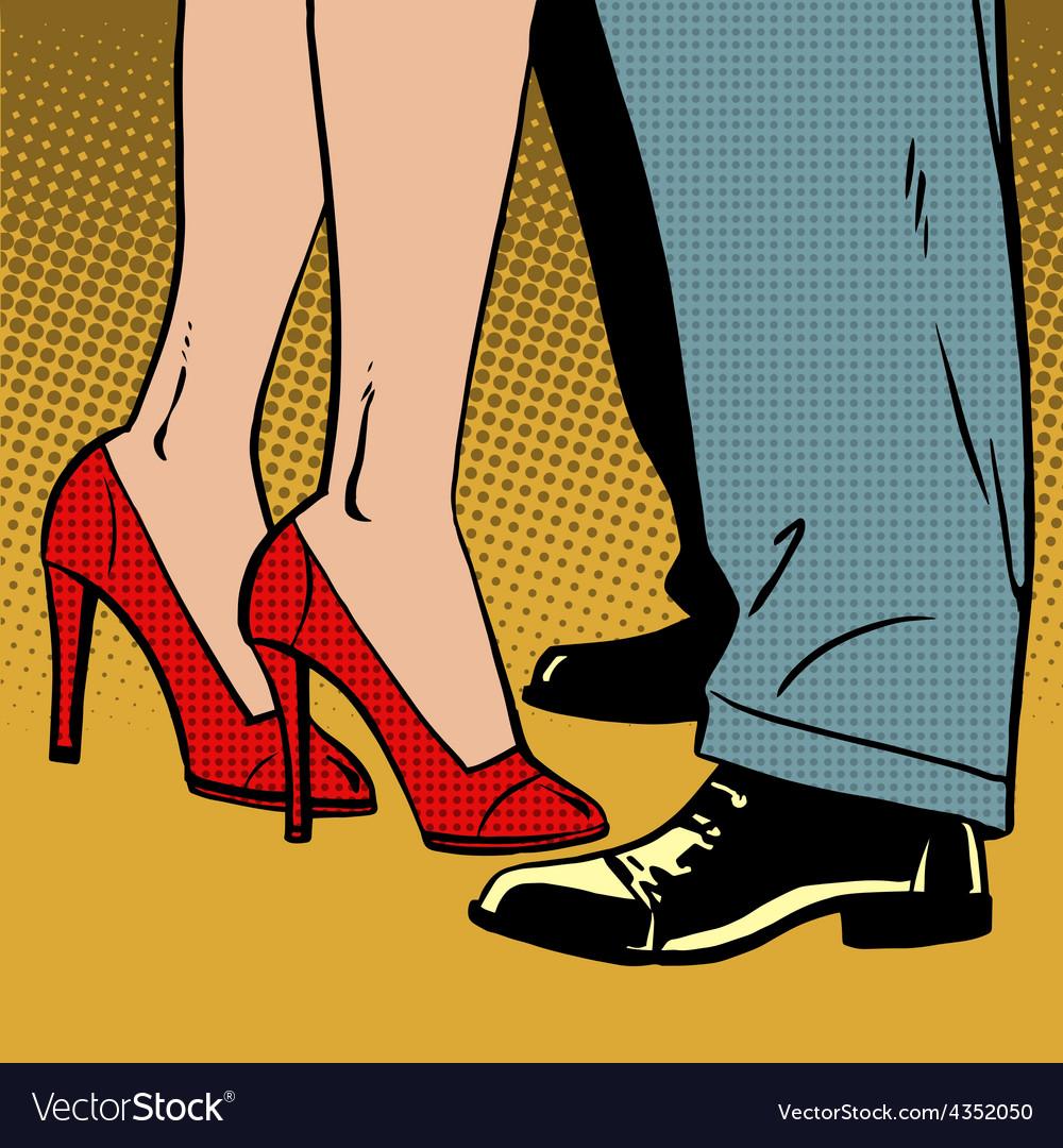 Love man and woman dance hugs pop art comics retro vector | Price: 1 Credit (USD $1)