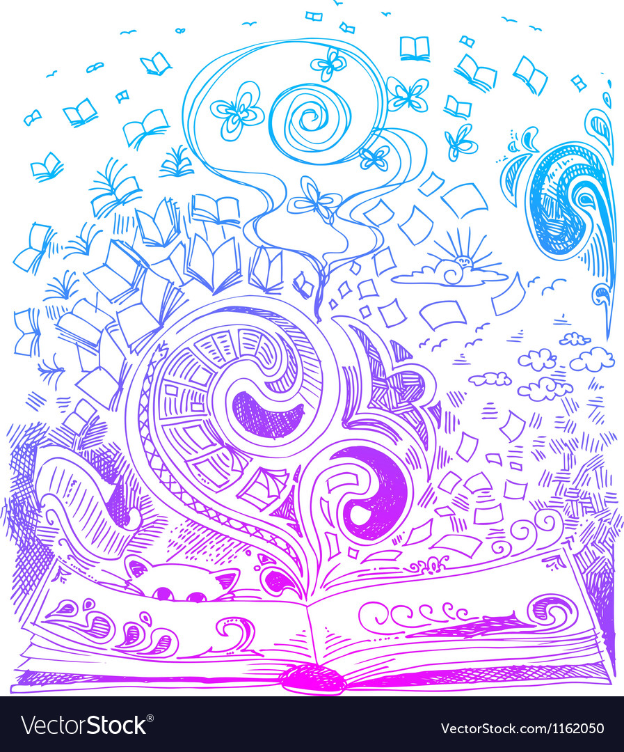 Open book sketchy doodles vector | Price: 1 Credit (USD $1)
