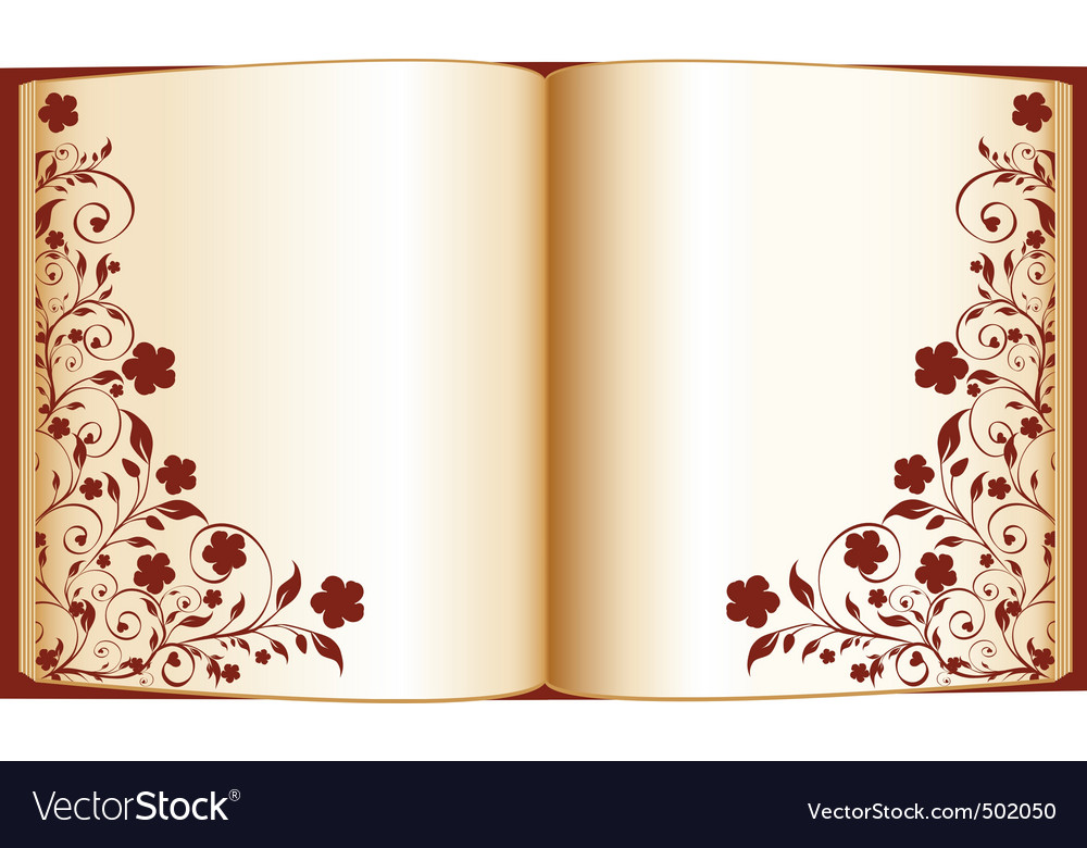 Open book with floral ornate vector | Price: 1 Credit (USD $1)