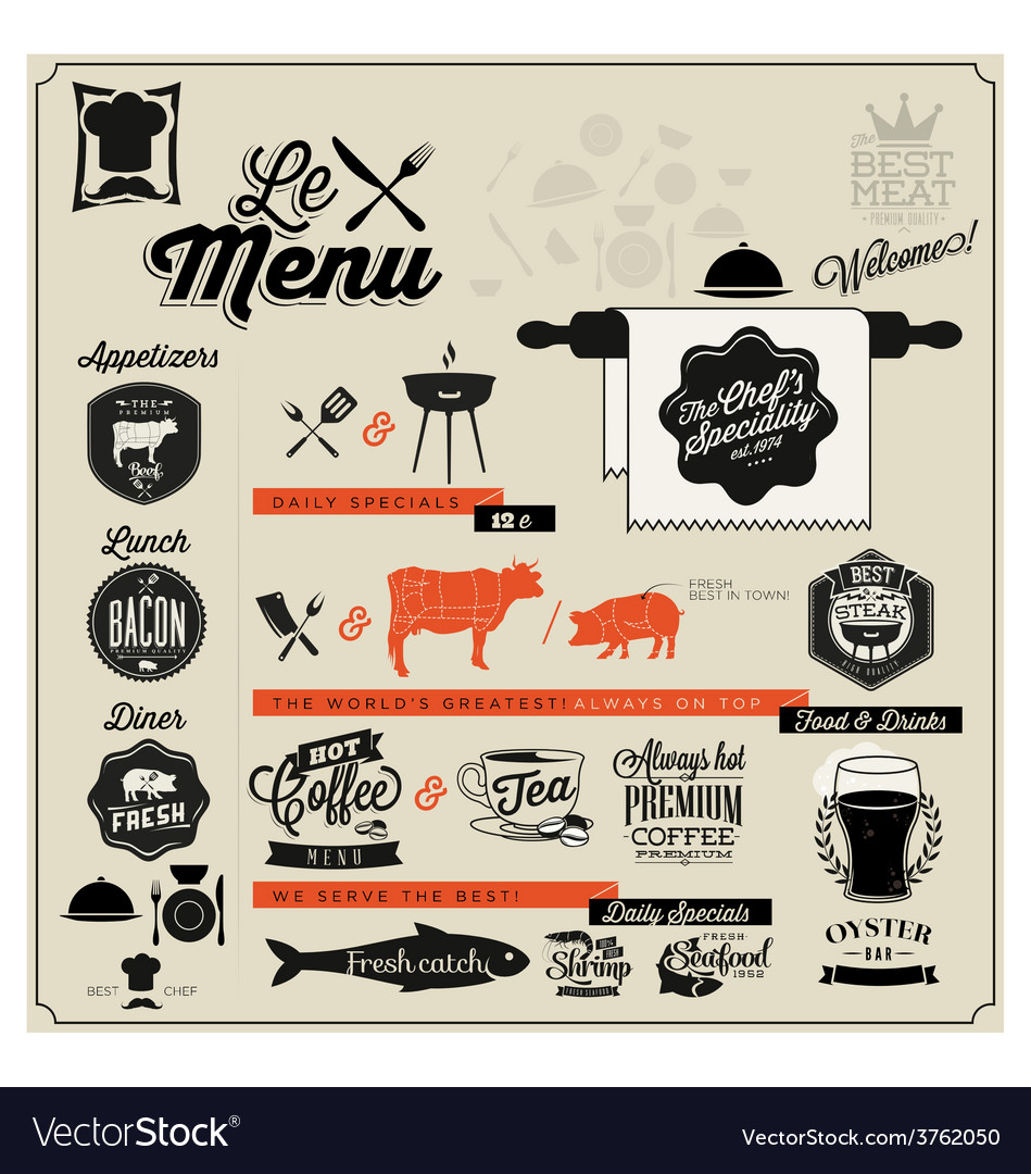 Retro vintage style restaurant menu designs vector | Price: 1 Credit (USD $1)