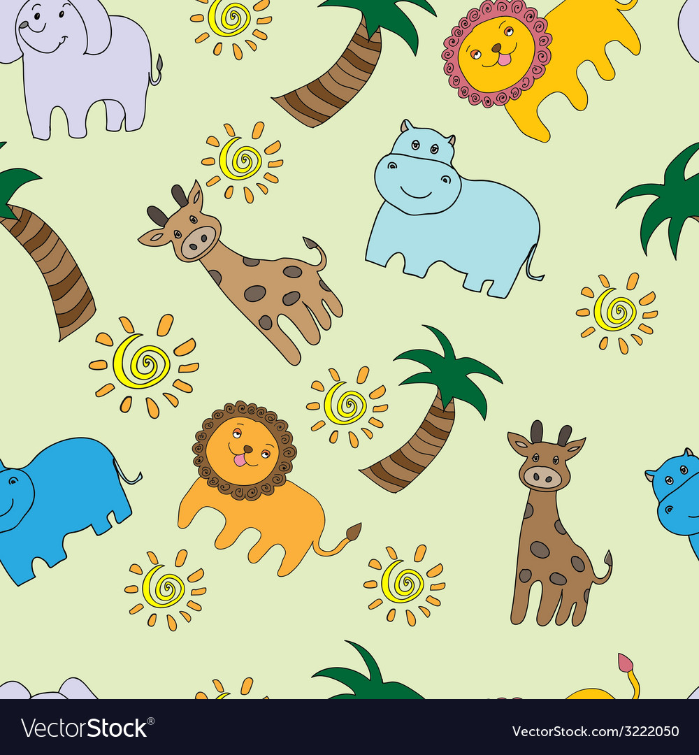 Seamless pattern with jungle animals vector | Price: 1 Credit (USD $1)