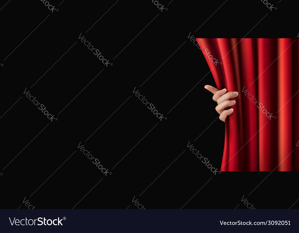 Background with red curtain and hand vector   Price: 1 Credit (USD $1)