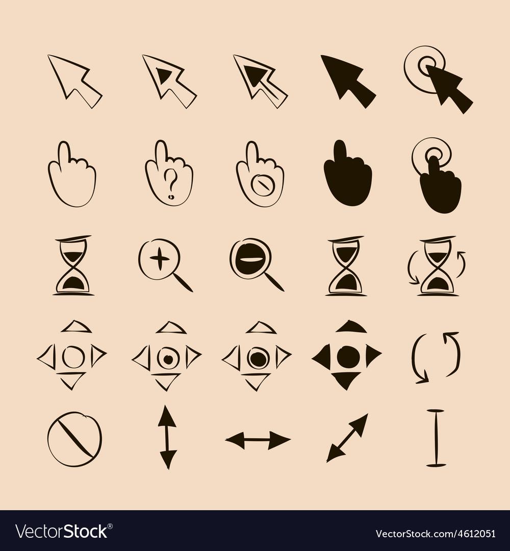Doodle cursors 25 pieces vector | Price: 1 Credit (USD $1)