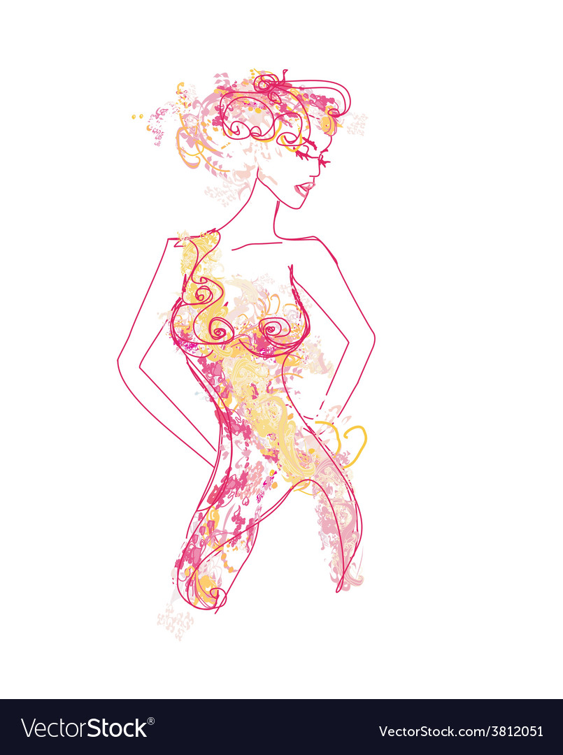 Floral beautiful woman vector | Price: 1 Credit (USD $1)