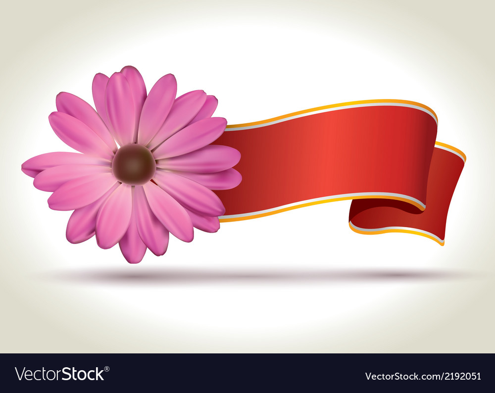 Flower with ribbon vector | Price: 1 Credit (USD $1)
