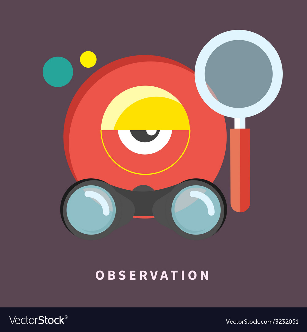 Icon in flat design for observation and monitoring vector | Price: 1 Credit (USD $1)