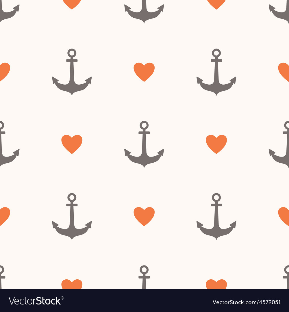 Seamless pattern with anchors and hearts vector   Price: 1 Credit (USD $1)