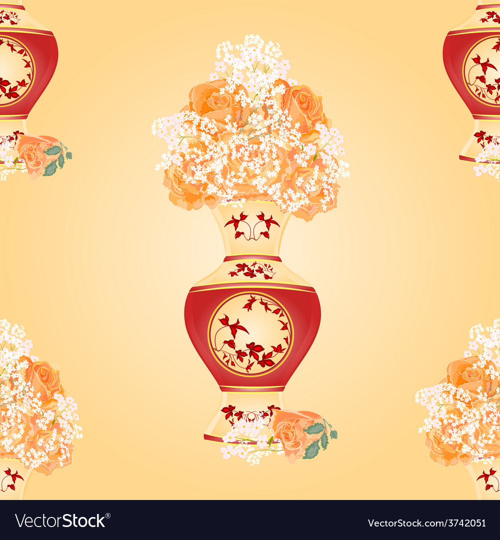 Seamless texture vase with tea roses vector | Price: 1 Credit (USD $1)