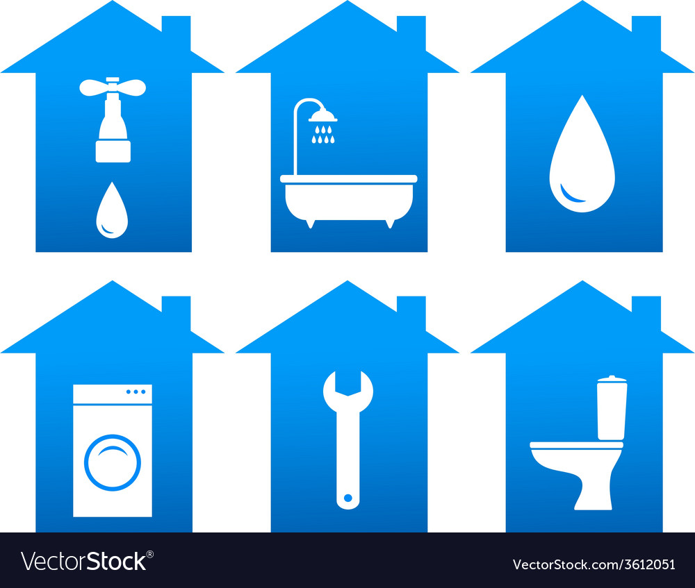 Set of bathroom icons with house silhouette vector | Price: 1 Credit (USD $1)