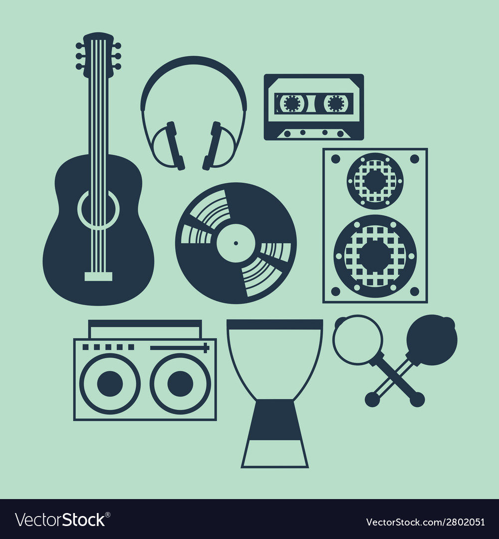 Set of musical instruments in flat design style vector | Price: 1 Credit (USD $1)